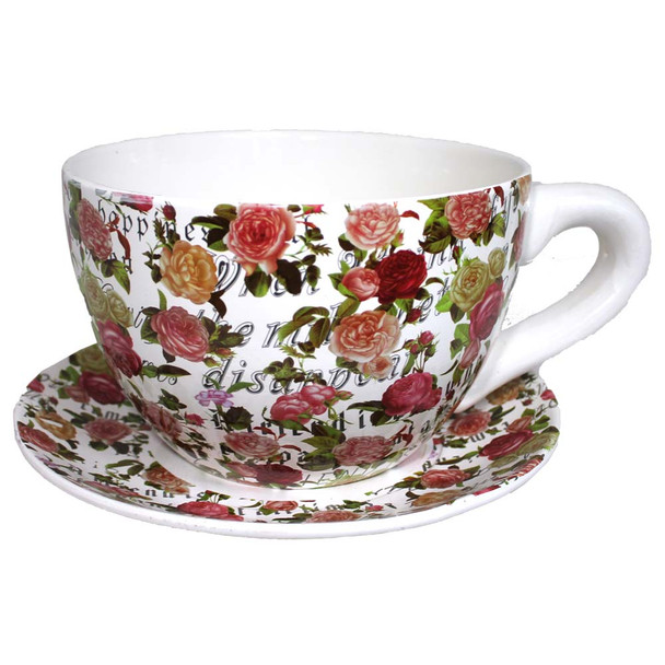 "10"" XL Roses Tea Cup and Sauce Ceramic Planter"