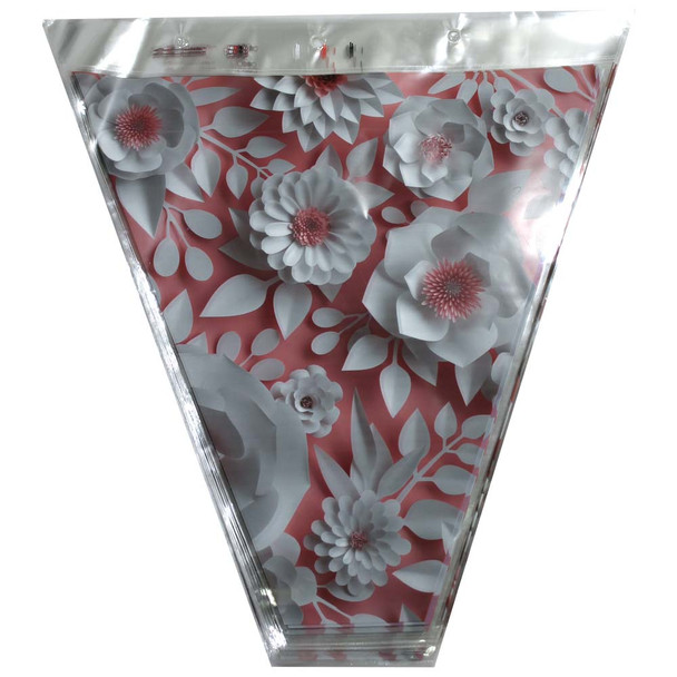 """16"""" Printed White Flowers with Old Pink Accents Floral Sleeve"""