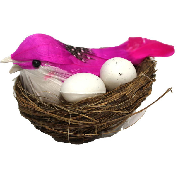 "3"" Birds in Nest with Eggs - 6 Pieces per Pack"