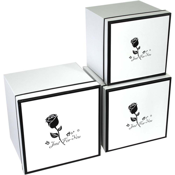 White Rose Square Flower Box - Set of 3