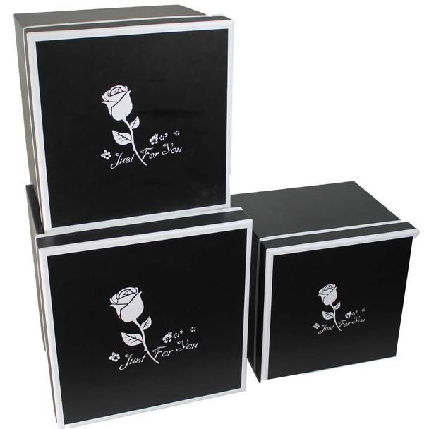 Black Rose Square Flower Box - Set of 3