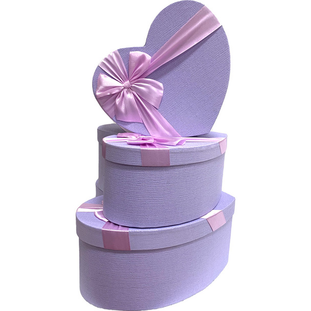 """12"""" Lavender Floral Heart Gift Box with Ribbon - Set of 3"""