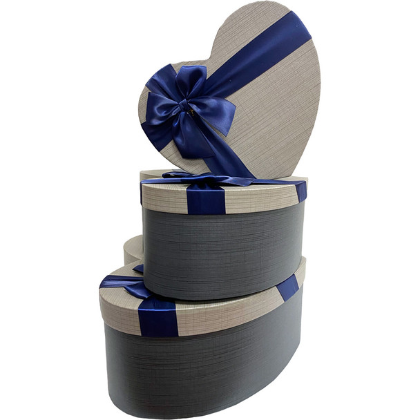 """12"""" Blue & Gray Floral Heart Gift Box with Ribbon - Set of 3"""