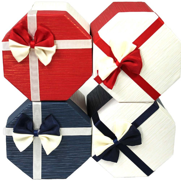 Hexagon Gift Boxes - 4 Pieces - Assorted Colors