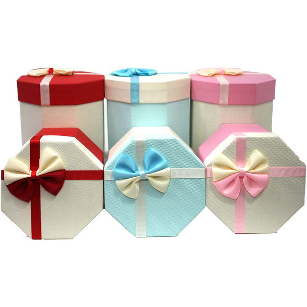 Hexagon Gift Boxes - 6 Pieces - Assorted Colors Variant