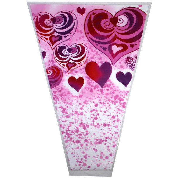 "12"" Printed Red & Fuchsia Hearts Floral Sleeve"