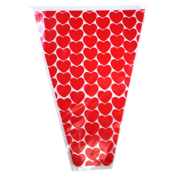 "12"" Printed Red Hearts Floral Sleeve"