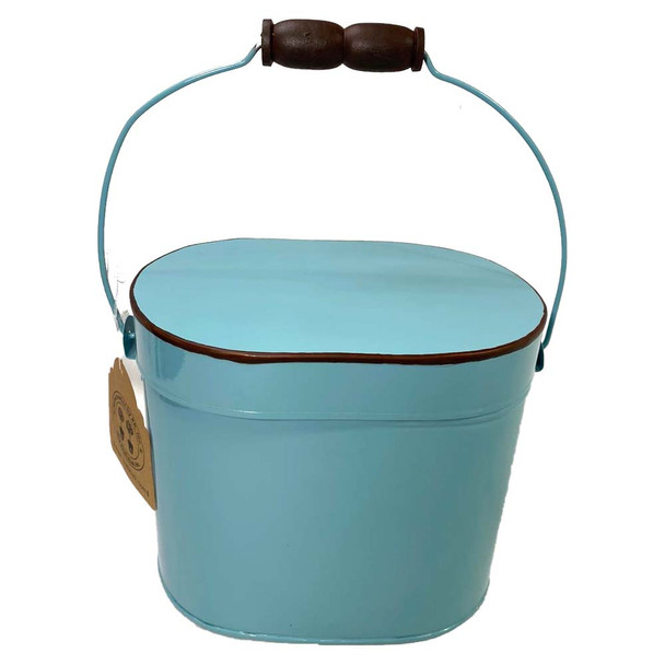 """6.75""""H Blue Enamel Metal Box"""