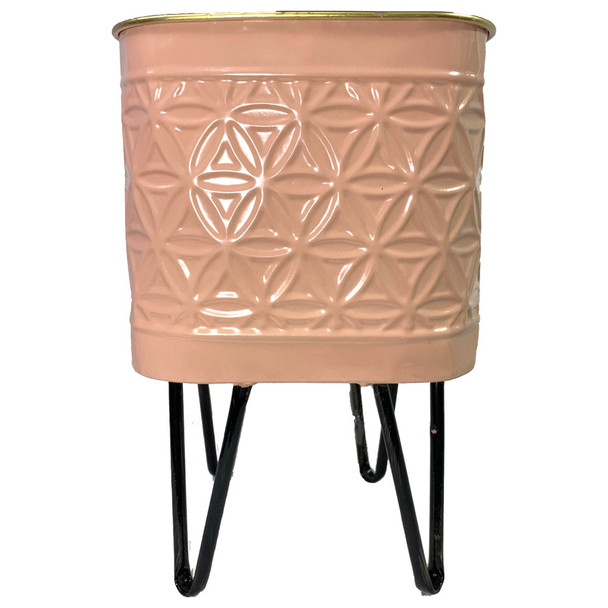 "12"" Light Coral Metal Geometric Vase"
