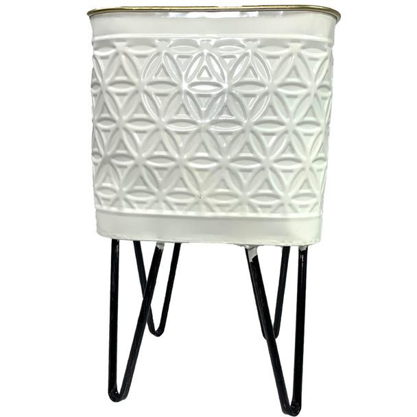 "14"" Ivory Metal Geometric Vase"