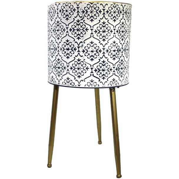 "19"" White & Blue Metal Moroccan Planter Vase"