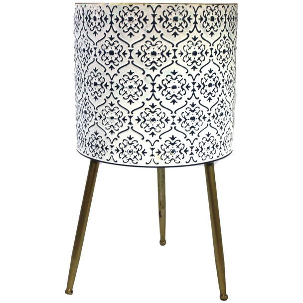 "17.5"" White & Blue Metal Moroccan Planter Vase"