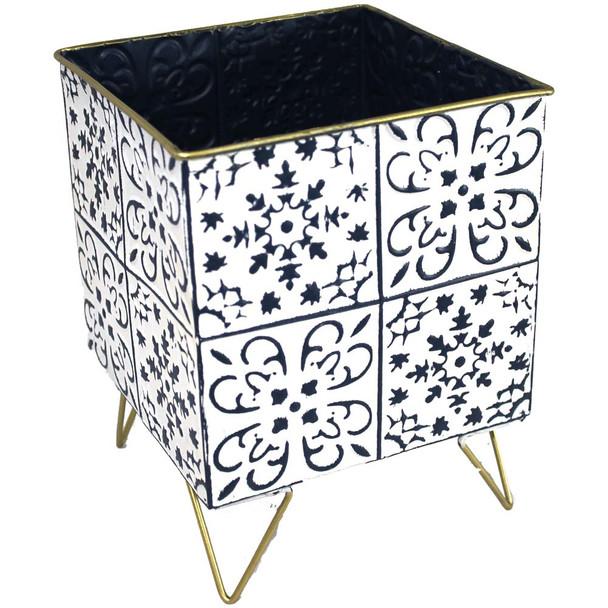 "10.5"" White & Blue Metal Moroccan Planter Vase"