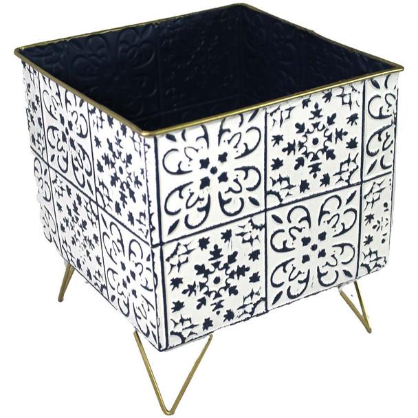 "10"" White & Blue Metal Moroccan Planter Vase"