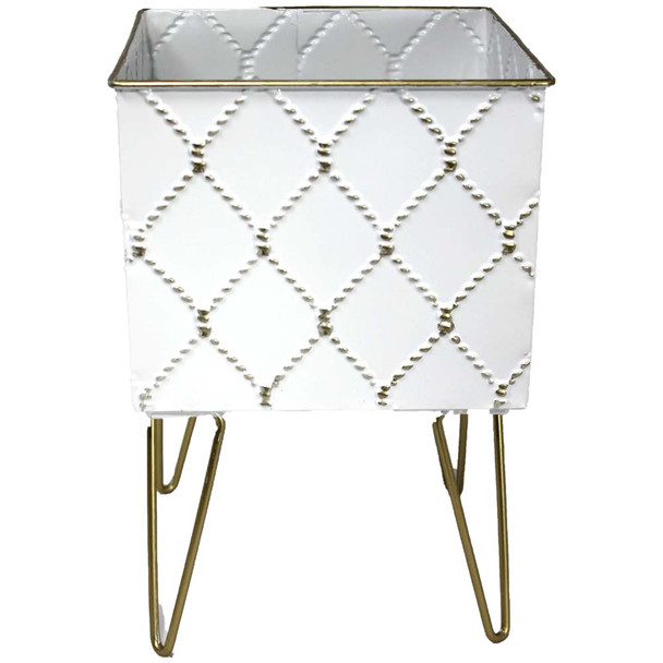 "10"" White & Gold Metal Moroccan Planter Vase"