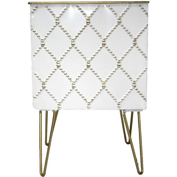 "8.5"" White & Gold Metal Moroccan Planter Vase"