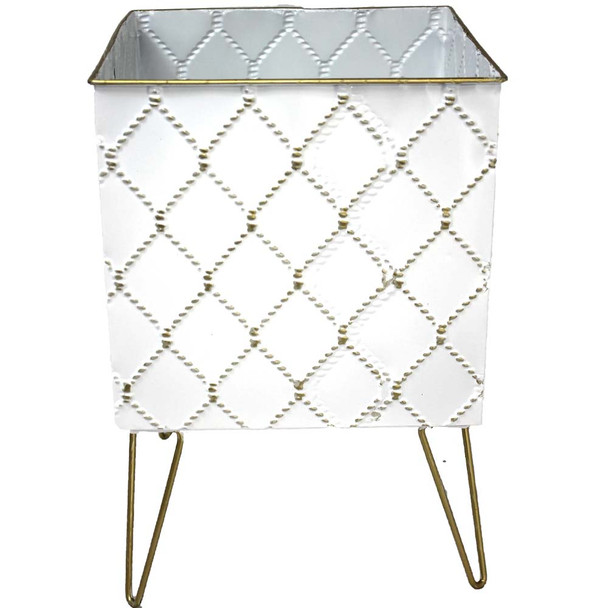 "7.5"" White & Gold Metal Moroccan Planter Vase"