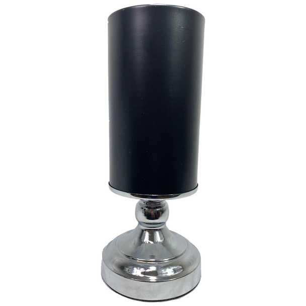 "11"" Black & Silver Metal Pedestal Vase"