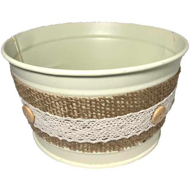 "6.5"" Metal Bucket with Burlap Accent"