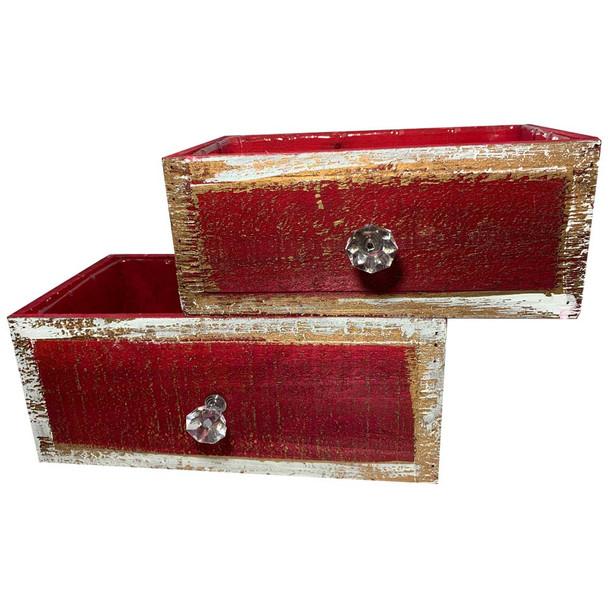 Red Rectangular Wood Drawer Planter Set of 2