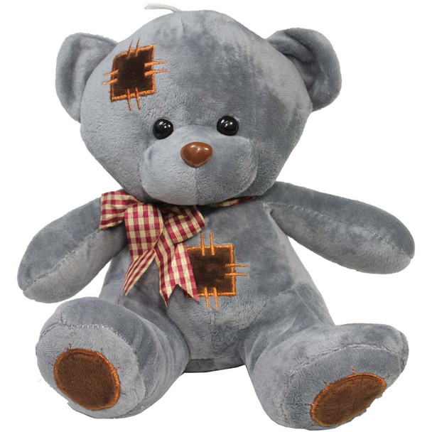 """10"""" Gray Teddy Bear with Patches"""