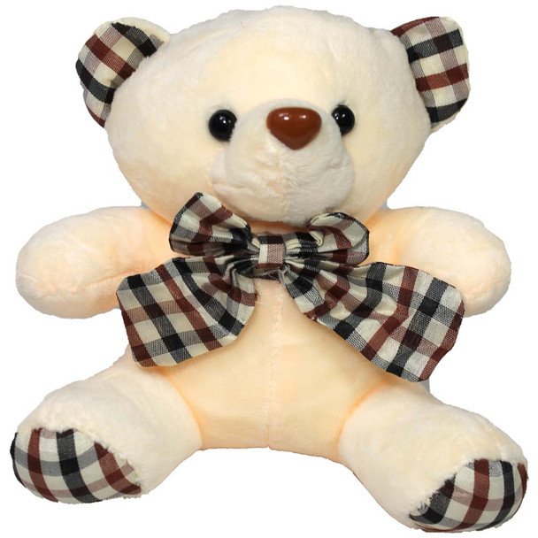 "6"" Ivory Teddy Bear with Gingham Ribbon"