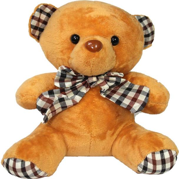"6"" Caramel Teddy Bear with Gingham Ribbon"