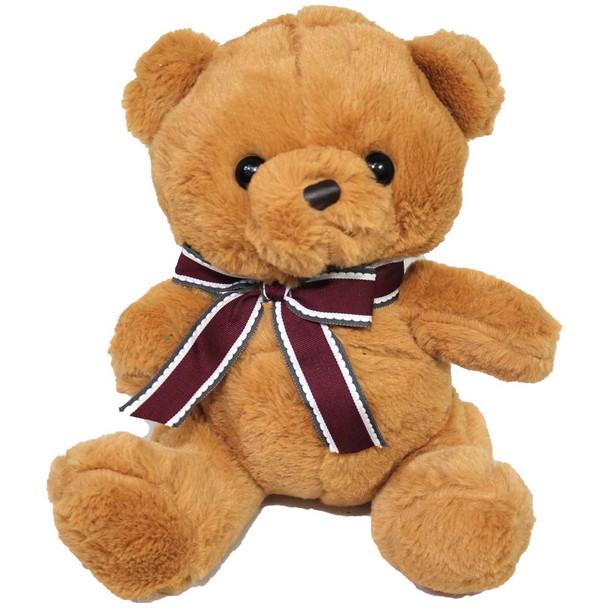 "9"" Honey Teddy Bear with Red Ribbon"