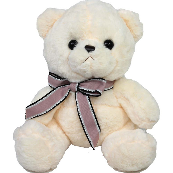 "9"" Ivory Teddy Bear with Pink Ribbon"