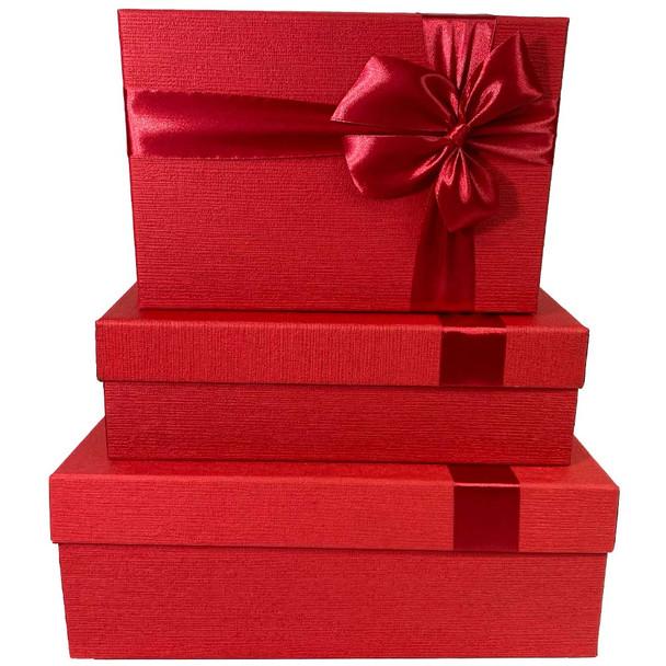 Red Rectangular Gift Box Set of 3