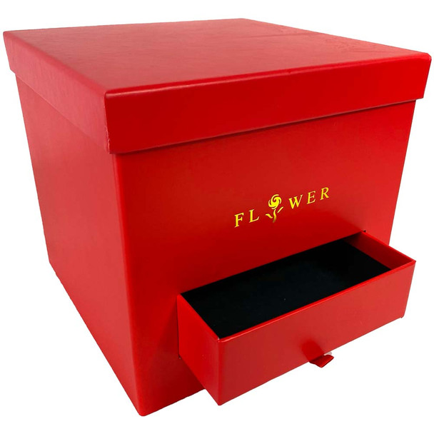Red Square Floral  Box with Drawer