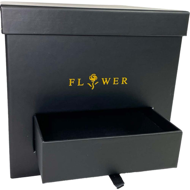 Black Square Floral Box with Drawer