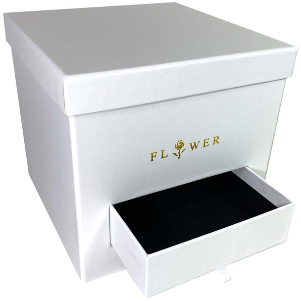 White Square Floral Hat Box with Drawer