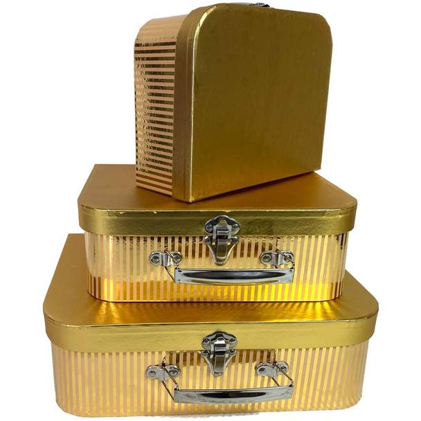 Gold Metallic Suitcase Floral Box Set of 3