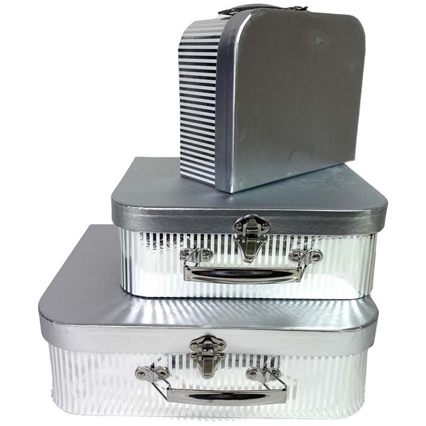 Silver Metallic Suitcase Floral Hat Box Set of 3