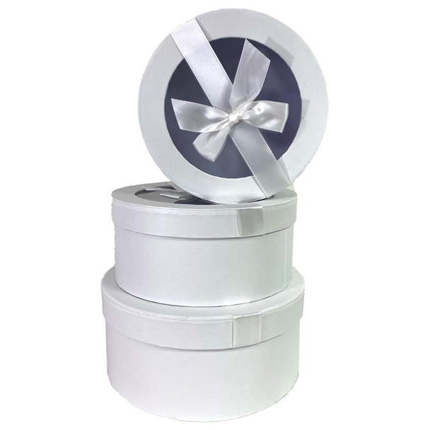 White Round with Window Floral Hat Box Set of 3