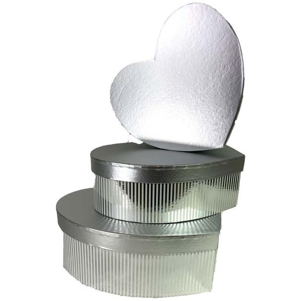 Metallic Silver Heart Floral Hat Box Set of 3