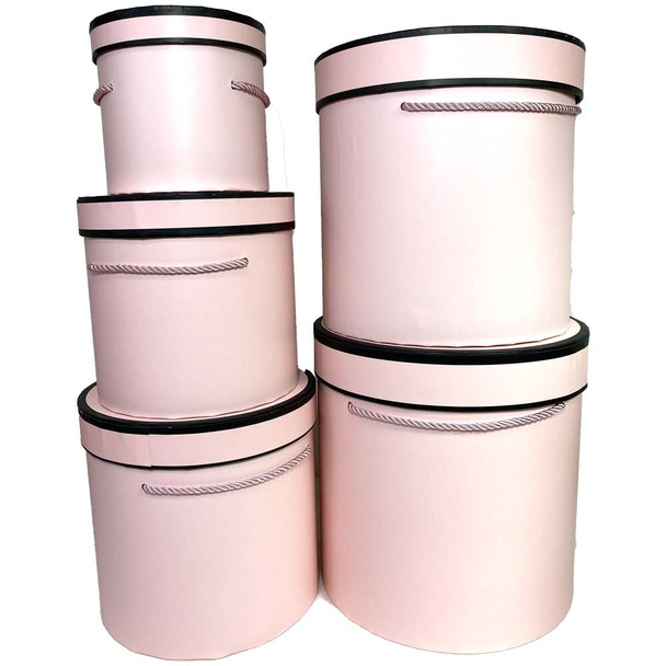 Tall Pink Cylinder Floral Hat Box Set of 5