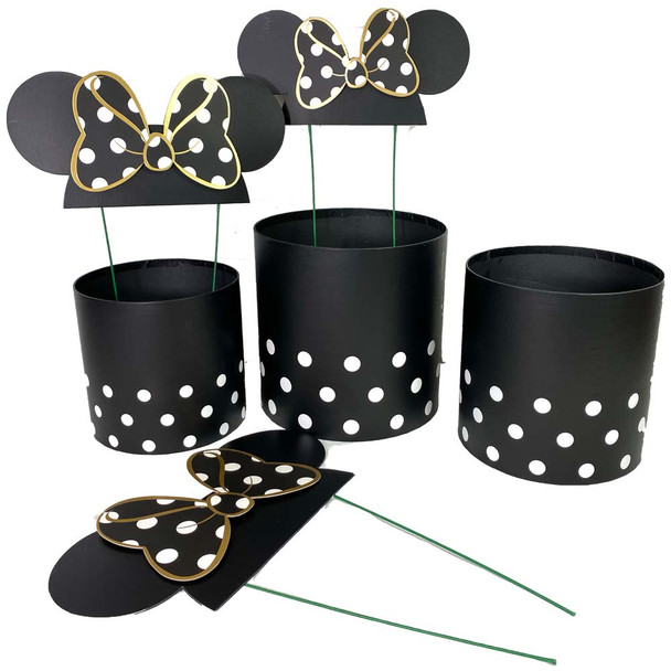 Black Bow Mouse Ears Floral Box Set of 3