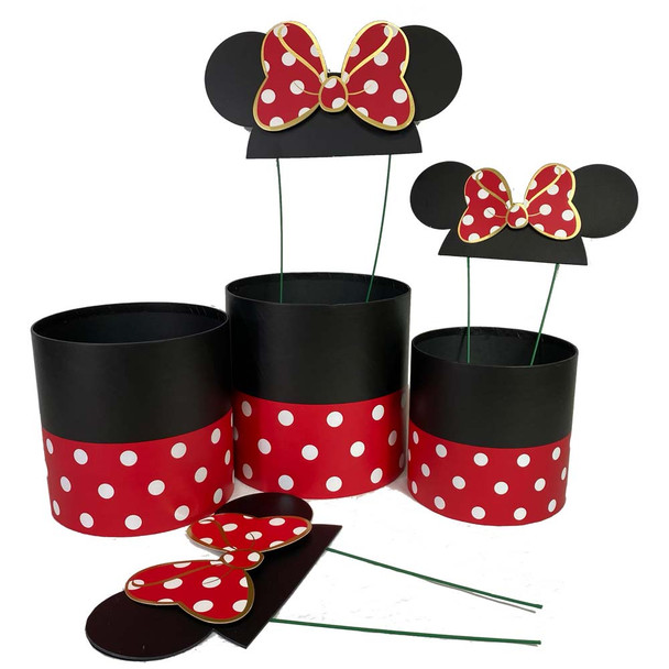 Red Bow Mouse Ears Floral Box Set of 3