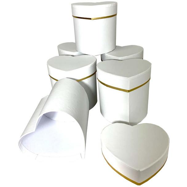 """4"""" Single Rose Heart Floral Hat Box - 6 Pieces - White"""