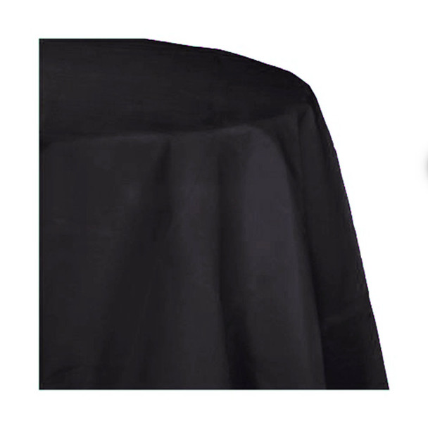 """120"""" Black Round Polyester Table Cover"""