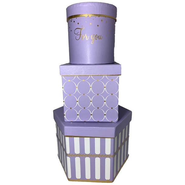 "9"" Geometric Shapes Floral  Box Set of 3 - Lavender"