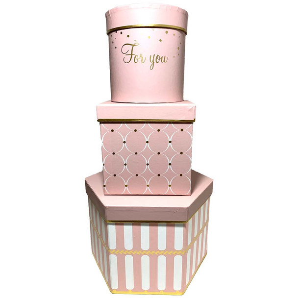 "9"" Geometric Shapes Floral  Box Set of 3 - Printed Pink"
