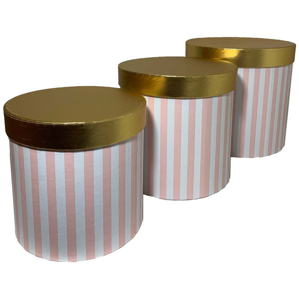 """7.75"""" Striped Pink Floral Box with Gold Lid - Set of 3"""