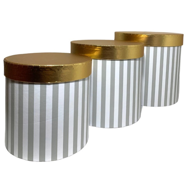"""7.75"""" Striped Gray Floral Hat Box with Gold Lid - Set of 3"""
