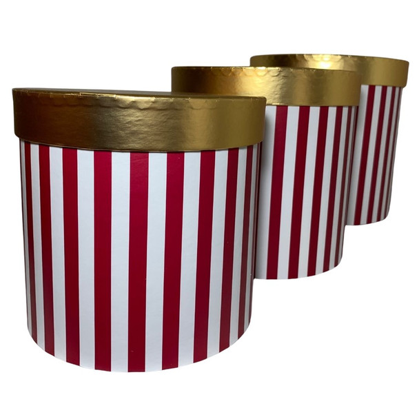 "7.75"" Striped Red Floral Hat Box with Gold Lid - Set of 3"