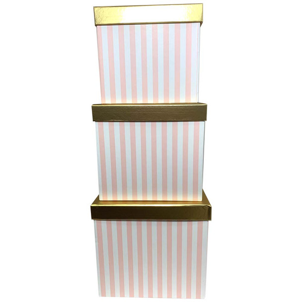 """8.25"""" Striped Pink Square Floral Hat Box with Gold Lid - Set of 3"""