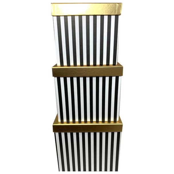 """8.25"""" Striped Black Square Floral Box with Gold Lid - Set of 3"""
