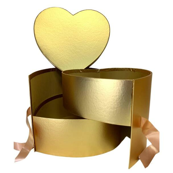 """10"""" Gold Double Level Heart Floral Hat Box"""